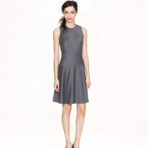 J. Crew pleated stretch Flannel Dress in Gray